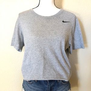 The Nike Tee Dri Fit Gray with Black Logo SZ Med
